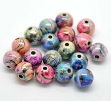 90 Random Hand Painted Acrylic Ball Beads 12mm 1/2 Inch