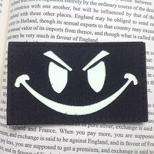 EVIL SMILE FACE TACTICAL MORALE ISAF  IR  PATCH GLOW IN DARK