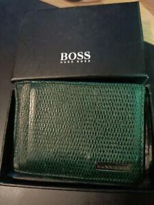 Hugo Boss Leather Card Holder Wallet - Dark Green