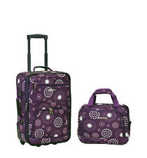 Rockland Rio 2 Piece Carry On Luggage Set Purple Pearl Soft Tolietries Bag