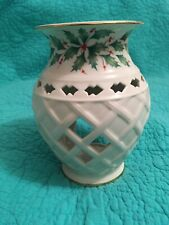 Lenox Holiday Dimension Collection Votive/Wax Warmer W/Holly & Berries