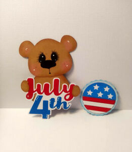 July 4th Bear Title paper piecing Premade Scrapbook Pages