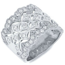 Womens 0.83 CT 18K White Gold Natural Round Diamond Cocktail Wide Vintage Ring
