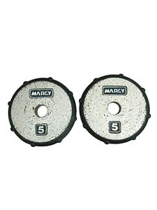 Marcy 5lb Weight Plates Lot of 2 Black Plastic Edge Standard 1 Inch Barbel Hole
