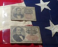 1874 Fifth Issue United States Fractional Currency 10 and 25 Cent Note in sleeve