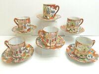 6 Japanese Imari Eggshell Porcelain Antique Demitasse VTG Cup Saucer Decor Sets