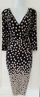 Womens Phase Eight Blue Beige Polka Dots Stretch Jersey Wrap Style Dress 12.
