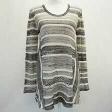 Style & Co Womens Striped Handkerchief Hem Open Knit Sweater Black White Grey S