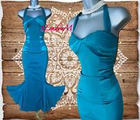 Size 12 KAREN MILLEN Green Silk Mermaid Style Ball Gown Prom Cocktail Midi Dress