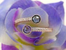 Open Adjustable Round Sapphire Diamond Half Eternity 14k Gold Matching Band