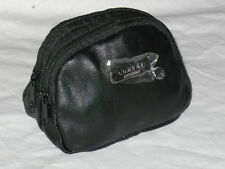 A Small Leather Soft Change Coin Pouch Purse With a Double Zips