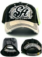 San Antonio New Leader Vintage Spurs Black Gray Era Strapback Dad Hat Cap