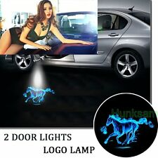 2 Cool LED 3D Logo Light Shadow Projector Door Laser for mustang fire horse blue