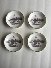 "Set Of Four 4"" Royal Worcester Fine Bone China Gold Trim Mini Plates Duck Design"