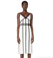 Jason Wu Back Crepe Satin V-Neck Dress Women's Size 0 84137