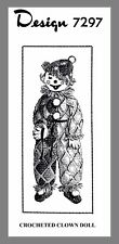 "Vintage Mail Order Alice Brooks Cute 32"" Clown Doll  Crocheting  pattern #7297"