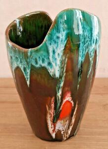 Antique Vase Vallauris Gradient Blue Brown Orange Fpp Vallauris France