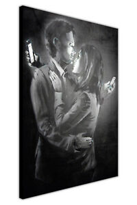 FUNNY BANKSY CANVAS PRINTS PHONE LOVERS WALL ART PICTURE HOME DECORATION ARTWORK
