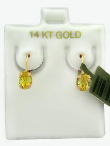 GENUINE 1.24 Cts YELLOW TOPAZ DANGLE EARRINGS 14K YELLOW GOLD * Free Certificate