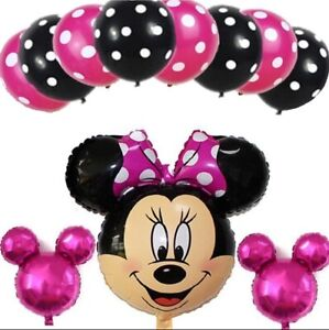 11pcs Disney Minnie Mouse Birthday Foil Balloons Party Decorations Gender Reveal