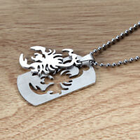 """Men's Silver Plated Stainless Steel Scorpion Pendant Necklace 22"""" Chain Jewelry"""