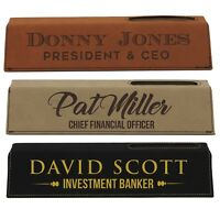 Desk Name Plate Plaque Personalized Custom Engraved Nameplate With Card Holder