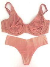 NEW Victoria's Secret Body By Victoria Unlined Plunge Shine Bra Panty Set 38DD/L