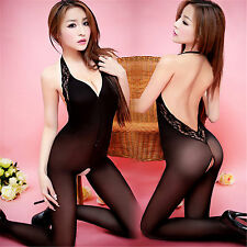 Bodystocking Velato Cavallo Aperto Sexy Open Crotch Body Stocking Nero Lingerie