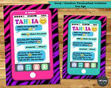 EMOJI EMOTICON TEEN INVITATION BIRTHDAY PARTY INVITE PERSONALISED PHONE CHAT