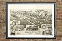 Old Map of Wolfe City, TX from 1891 - Vintage Texas Art, Historic Decor