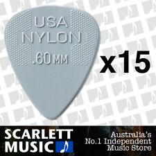 15 x Jim Dunlop Nylon Standard Greys .60mm Guitar Picks Plectrums 0.60 Grey