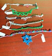 Lot of 7 Tatting/Tatted Lace Cross Bookmarks, Bracelets, Necklace, Ornament New