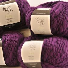 5 x 50g Balls: BULKY FANCY 100% Pure Wool - Bessie May HUG, Blueberry