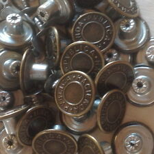 "APPROX 17MM (43/64"") NO SEW HAMMER ON DENIM/ JEAN BUTTONS X 10- ANTIQUE COPPER"