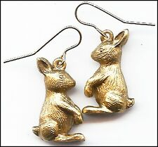 Rabbit Earrings 24K Antique Gold-Plate over Pewter - Gold-Filled Ear-Wires 0.9""