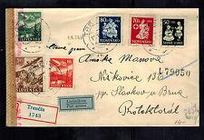 1943 Trencin Slovakia Registered cover to Slavkov