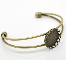 20 Supports Bracelet Cabochons Ouvert Bronze 16cm(Pr 20mm)