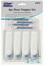 4pc Door Stopper Wedge Stop Jam Kit Set Wall Mounted Skirting Protector