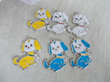 6 X PUPPY DOG ENAMEL COATED CHARMS/PENDANTS -JEWELLERY MAKING