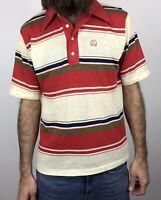 Vintage 70s Striped Polo Shirt Interwoven John Newcombe Size Medium Large