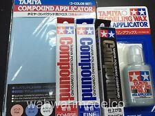 Tamiya Polishing Compound Coarse, Fine, Finish + Compound Applicator +87036 set