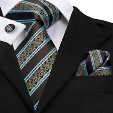 USA Classic Blue Brown Striped Mens Tie Set Silk Necktie Gold Paisley Wedding