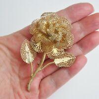 Vintage Large Silver Gilded Filigree Rose Flower Brooch C Clasp Fitting