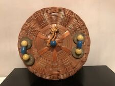 Antique Chinese Hand Woven Small Lidded Basket w Old Coins & Beads Decoration