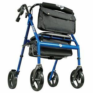 Hugo Mobility Elite Rollator Walker with Seat Backrest and Saddle Bag, Blue, 1 C
