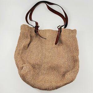 J. Jill Tan Brown Woven Straw Rafia Beach Tote Shoulder Bag Leather Straps