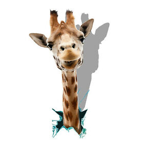 3D Giraffe Head Picture Decal Childrens Wall Stickers Bedroom Wall Art 4 Sizes