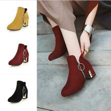 Women Suede Fabric Ankle Boots Round Side Zip Block Heel Casual Shoes Size 34-48