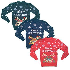 Boys Girls Kids Christmas Jumper Reindeer Sweater Xmas Sweatshirt Top Rudolph