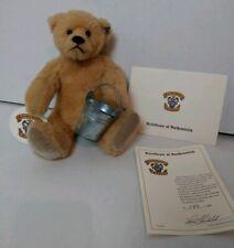 "Vtg Collectible Knickerbocker Plush Bear 11"" Tan Poseable Bucket 182/1000 COA"